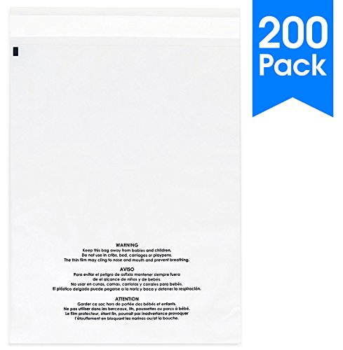 200 Count - 8 X 10 Self Seal 1.5 Mil Clear Plastic Poly Bags with Suffocation Warning - Permanent Adhesive by Spartan Industrial (More Sizes ()