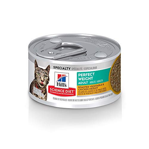 Hill's Science Diet Wet Cat Food, Adult, Perfect Weight, Roasted Vegetable and Chicken Recipe, 2.9 oz Cans, 24-pack