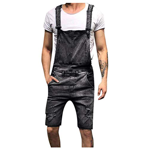 (Sunyastor Mens Bib Overall Shorts Denim Casual Loose Fit Jumpsuit Walkshort Wash Broken Pocket Button Jeans Rompers)