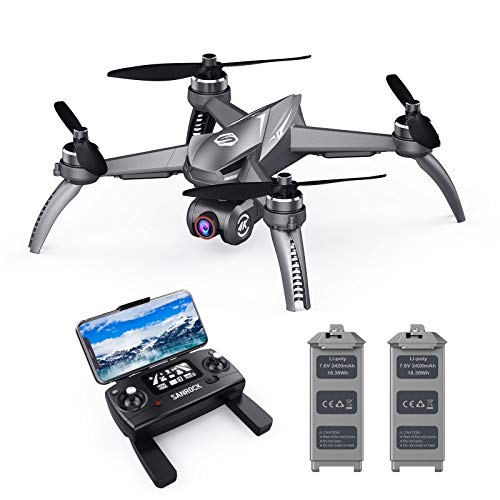 SANROCK B5W GPS Drones with 4K UHD Camera for Kids Beginners, 2 Batteries with 46mins Flight Time, Brushless Motor, 5GHz…
