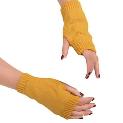 Meiyuan Women Winter Candy Color Half-finger Gloves Warm Keeper Soft Mitten