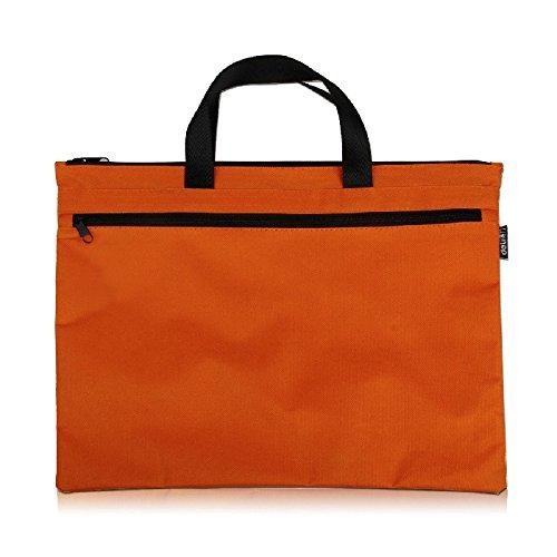 Tanchen Expanding File Pocket Soft Canvas Handle Portfolio Multifunctional Storage Bag (Orange) by TANCHEN