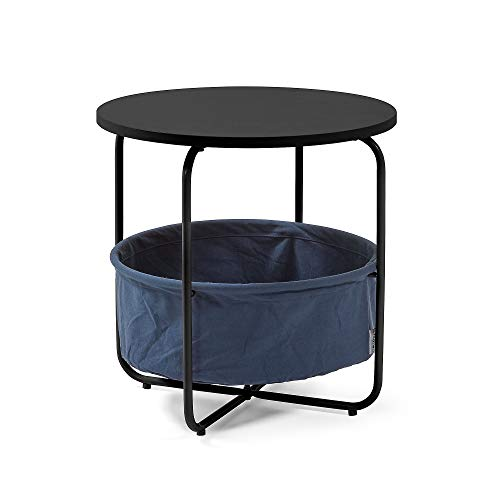 Kave Home - Mesa Auxiliar Specter Negra Redonda Ø 42 cm con Estructura de Metal en Negro y Estante de Ropa en Azul