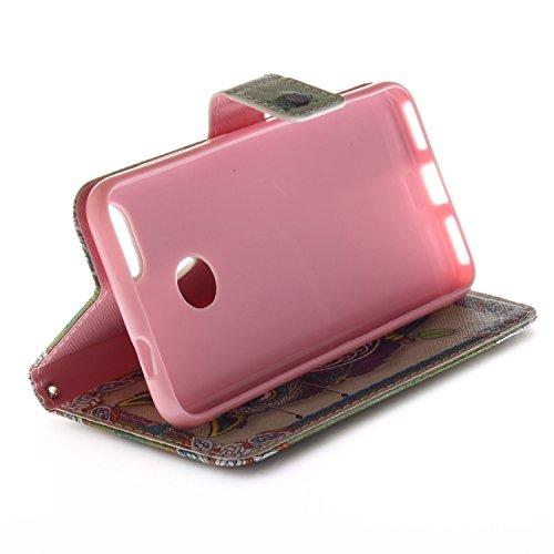 Funda para Huawei Y6 Pro 2017 / P9 Lite Mini , IJIA Campanas De Viento TPU + PU Cuero Ranuras para Tarjetas de Crédito Flip Caja [Estilo Libro,Soporte Plegable ] Cover Tapa Caso Parachoques Carcasa Cu V24