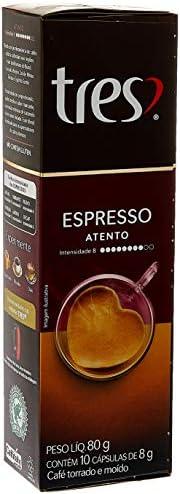 Cápsula de Café Espresso, Atento, 10 Unidades, Tres, 3 Corações