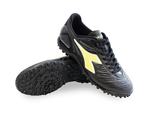 Diadora Maracana 18 TF Men's Turf Soccer Shoe (10.5, Black/Fluo Yellow)