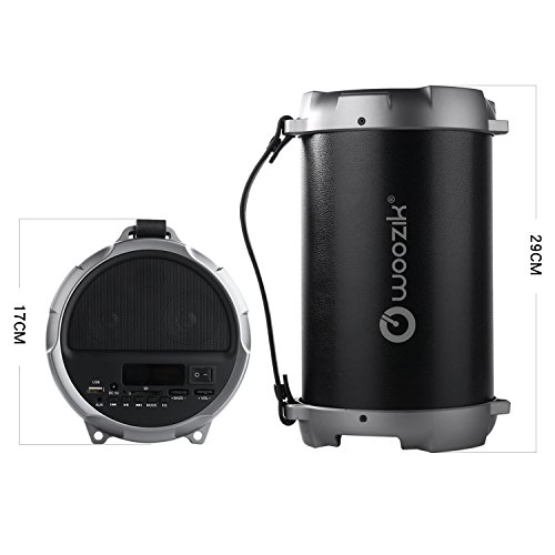NEW Woozik S12B Bluetooth Speaker - Best Outdoor/Indoor Portable Speaker with Back-Lit LED, FM Radio, and Carrying Strap, Great for Parties, Outdoors and More! (Black)