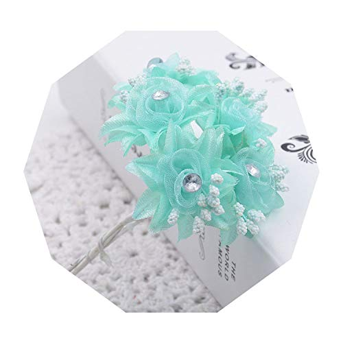 Round Diamond Wedding Set Mounting - 6 pcs Flowers Roses Gauze Diamond Wedding Shoes Headdress DIY Home Decoration Artificial Flowers Bridal Wreath Collage,Green