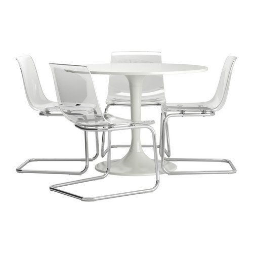 Ikea Table and 4 chairs, white, clear 82018.261723.66