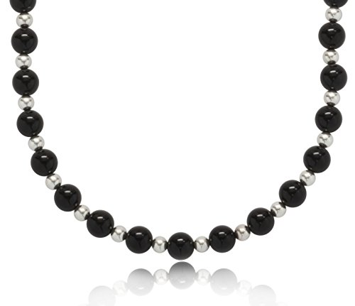 ISAAC WESTMAN 8mm Polished Black Onyx Endless Necklace with .925 Sterling Silver Beads, 32