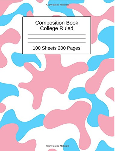 Composition Book: Pink and Blue Camouflage Blank Lined College Ruled 100 Sheets 200 Pages ebook