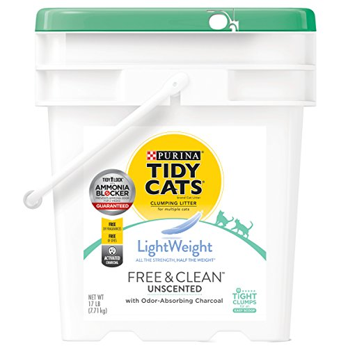 Purina Tidy Cats Light Weight, Dust Free, Clumping Cat Litter, LightWeight Free & Clean Unscented, Multi Cat Litter - 17 lb. Pail