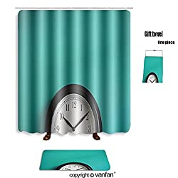 vanfan bath sets with Polyester rugs and shower curtain clock on mint green wall background vintage e shower curtains sets bathroom 72 x 88 inches&31.5 x 19.7 inches(Free 1 towel and 12 hooks)