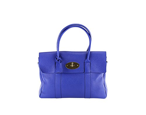 Mulberry Womens Bayswater Small Classic Grain Tote - Blue Leather
