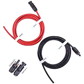 GBGS 10ft 12AWG Waterproof MC4 Extension Cable Connector TUV Flame retardant 20A 2 Pairs, 10ft of each cable Black//Red Serial Solar Panel Branch Adaptor