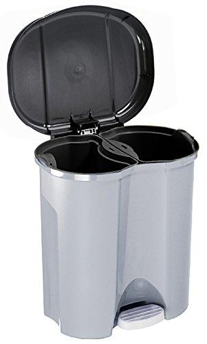 Rotho Abfalleimer Duo, Mülleimer mit zwei Abfallbehältern zum ...