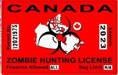 Canada Canadian Zombie Hunting License Permit Red - Biohazard Response Team Automotive Car Window Locker Bumper Sticker