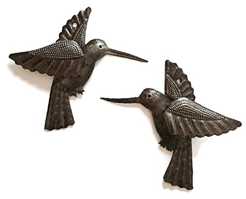 Hummingbird Metal - Hummingbirds, Nature Inspired Haitian Recycled Metal Drum Wall Art, Novelty Gift, Set of 2, 6 x 5.5 Inches