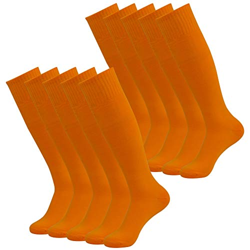 Orange Coloured Costumes - diwollsam Women's Soccer Socks, Women 10 Pairs Colored Halloween Velma Costumes Pumpkin
