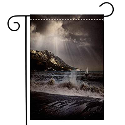 BEIVIVI Creative Home Garden Flag A View of The sea Being Covered by Gray Clouds and a Storm Garden Flag Waterproof for Party Holiday Home Garden Decor