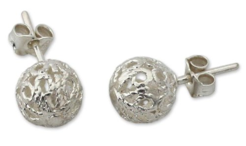 NOVICA .925 Sterling Silver Button Earrings 'African Filigree' by NOVICA