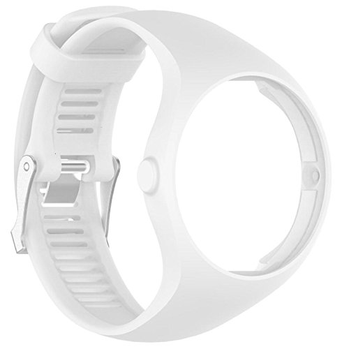 Price comparison product image Owill Replacement Soft Silicone Rubber Watch Band Wrist Strap For Polar M200 Fitness Watch,  Band Length: 235MM (White)
