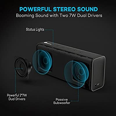 Bluetooth Speakers TaoTronics Pulse X Wireless Portable Speaker 14W from Dual 7W Drivers, Strong Bass, High Definition Audio, Built-in Microphone