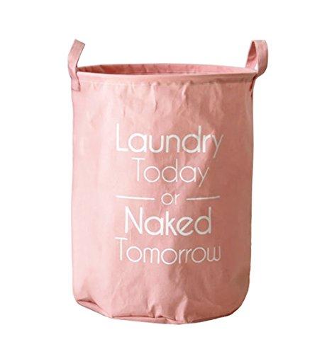 Kimjun Faltbare Multi-funktionale Baumwolle Leinen Runde Wäschekorb Hamper Kinder Spielzeug Veranstalter Aufbewahrungskorb Aufbewahrungstasche - Pink