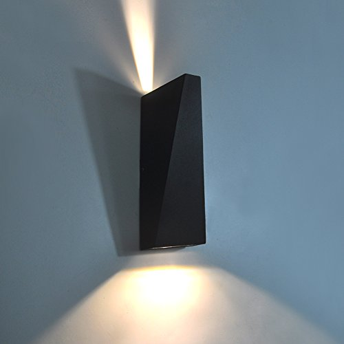Price comparison product image LED Aluminum Waterproof Wall Lamp 7W Outdoor Wall Lamp 65-285V 3000K Outdoor Wall Light Warm Light 2 LED Matte Black with Frosted Glass Elitlife