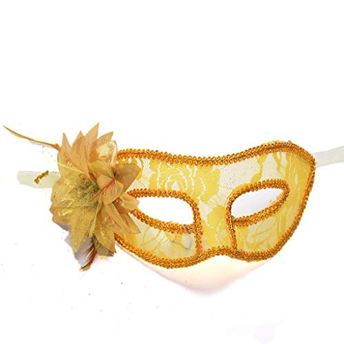 Carnival Masquerade Mask, Women Handmade Venetian Halloween Mardi Gras Costumes Party Ball Prom Mask, Prom Party Mask (Yellow)]()