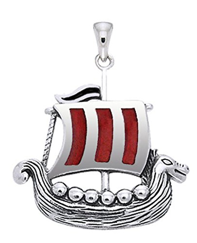 US Jewels And Gems New 0.925 Sterling Silver Viking Ship Boat Charm Aquatic Pendant