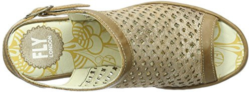 Womens London luna 007 camel Fly Leather YUTI734FLY Mule Silver Sandals 5Sx6wd