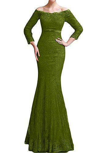 Braut Meerjungfrau Lang Gruen Promkleider Langarm Spitze Brautmutterkleider Damen La Olive Festlichkleider Marie Abendkleider 5vq7w87