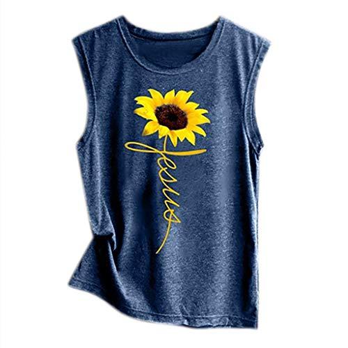 Baiggooswt Women Sleeveless Sunflowe Sunflower Print Shirt Casual Loose Tank Top Soft Comfortable Top - Womens Quilted Stadium Jacket