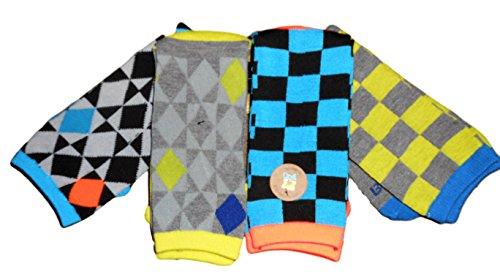 Crew Kids Glove (Body Glove Boy Crew Bright Color Graphic 4 Pack Socks Size 5-6.5)