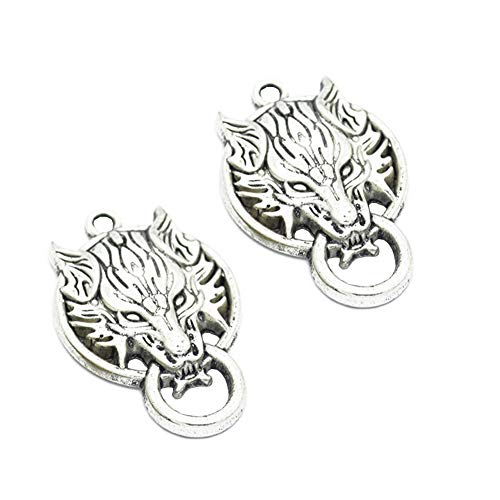 10pcs Vintage Antique Silver Alloy Animal Wolf Head Charms Pendant Jewelry Findings for Jewelry Making Necklace Bracelet DIY 40x26mm (10pcs Wolf)