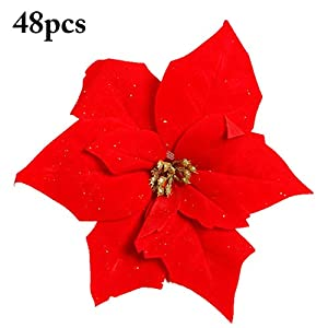 Coxeer 48PCS Artificial Christmas Flowers, Christmas Flowers Red Poinsettia Ornaments Xmas Wedding Decor 5