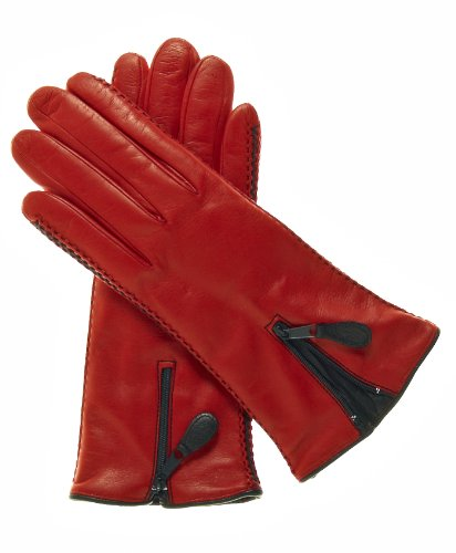 Fratelli Orsini Women's Lambskin Cashmere Lined Leather Gloves with Zipper Size 7 1/2 Color Red by Fratelli Orsini