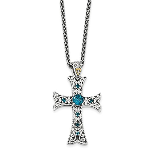Blue Topaz Designer Cross (ICE CARATS 925 Sterling Silver 14k London Blue Topaz Cross Religious Chain Necklace Crucifix Fine Jewelry Ideal Mothers Day Gifts For Mom Women Gift Set From Heart)