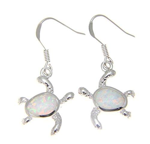 925 Sterling Silver Hawaiian honu turtle white synthetic opal hook wire ()