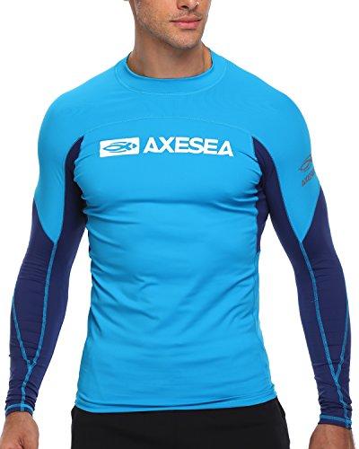 AXESEA Men Long Sleeve Rash Guard UPF 50+ Second Skin Fabric Swim Shirt, Blue, Medium