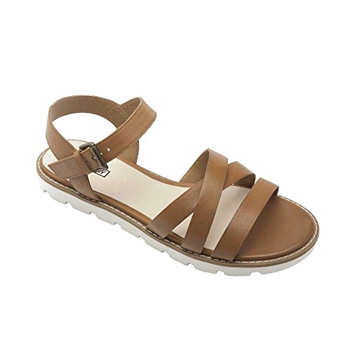PIC/PAY Cabo Women's Sandals - Leather Strappy Flat Sandal Cognac Leather 6.5M by PIC/PAY