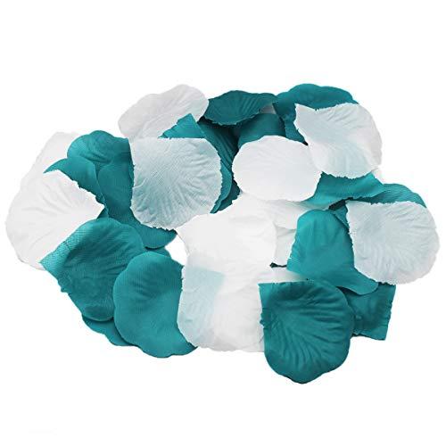 (CheckMineOut 600PCS Mixed Teal Blue & White Silk Rose Petals Wedding Centerpieces Party Decoration Confetti Bridal Shower Party Favor)