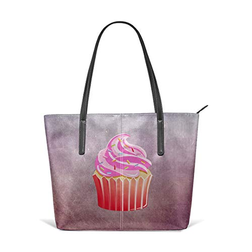 Women's Soft Leather Tote Shoulder Bag Cupcake Big Capacity Casual Portable Handbag Purses Work Travel -