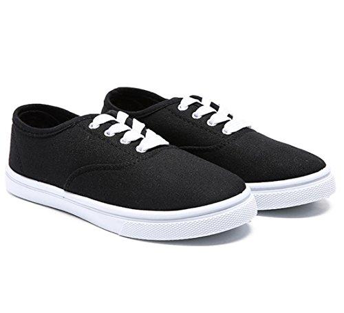 Konge Seier Kvinner Lerret Slip-on Sneaker Walking Flate Sko Svart-2