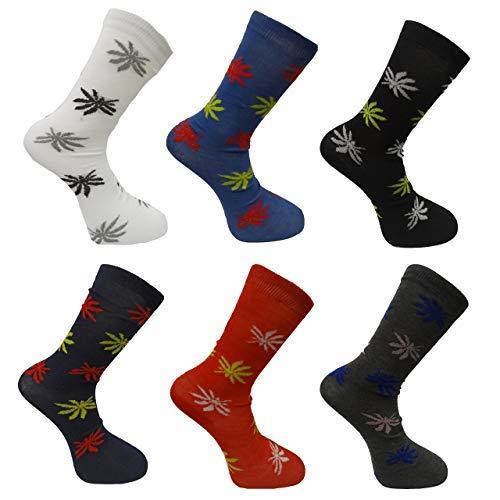 6 pares para hombre calcetines de impresión de hoja de hierba Cannabis Ganja Marihuana adultos tamaño