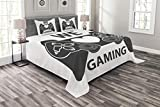 Lunarable Gamer Bedspread Set Queen Size, We Love Gaming Quote Greyscale Controller Design with Heart in The Middle, Decorative Quilted 3 Piece Coverlet Set with 2 Pillow Shams, Charcoal Grey White