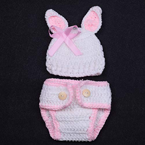 ISOCUTE Newborn Photography Props Baby Girl Easter Bunny Crochet Knitted Rabbit Set by ISOCUTE (Image #3)