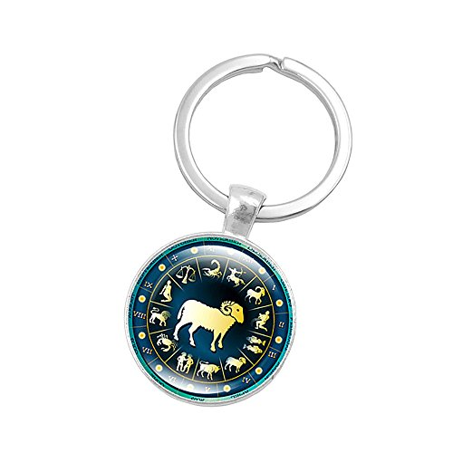 (Retro Personalized Zodiac Sign Key Chain Jewelry Horoscopes Star Signs Tag Key Rings Medallion Constellation Jewelry (Aries(3/21-4/19)))