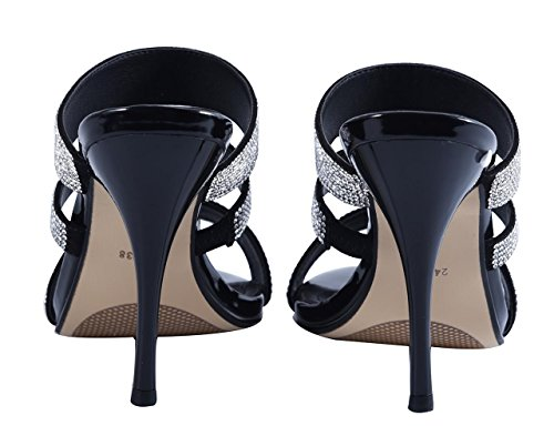 Stiletto Sandals Heels Patent High PU Dress Simple Women's Classic Slide Black Toe Open On Slip UOPWpZq0wx
